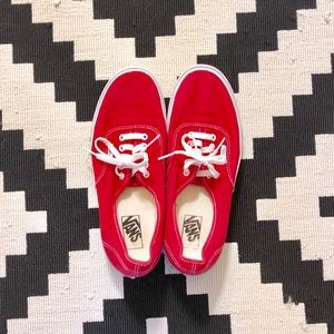 Vans Red Canvas Sneakers (Model: Authentic)